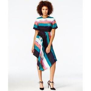 RACHEL Rachel Roy Striped Asymmetrical Dress 8